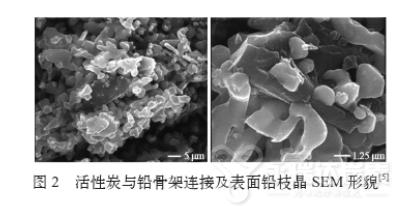 活性炭与铅骨架连接及表面铅枝晶SEM形貌